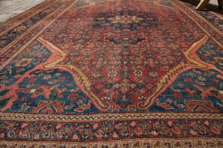 "Old Bijar, 1800s, tatter to ends and sides, even knot heads across, some foundation showing. Fantastic colors, great design, great size. 7'1"" x 10'2"". Contact for more info."