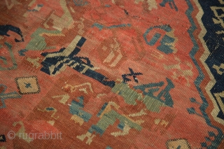 "Zeachor Kuba rug. Good design, early synthetic dye, areas of restoration. 4'8"" x 6'3"". Contact for more info."