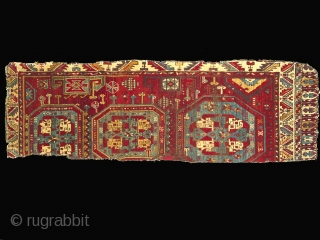 Anatolian carpet fragment, Karapinar, 30 x 90 inches (76 x 241cm), early 19th century. This carpet fragment contains more variants of the eli-belinde motif than I have ever seen before on one  ...