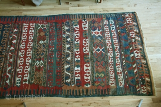 Anatolian kilim, circa 1800-1850, A rare type of Yuncu multibanded kilim. Professonally cleaned. Condition: minor restorations throughout the kilim.