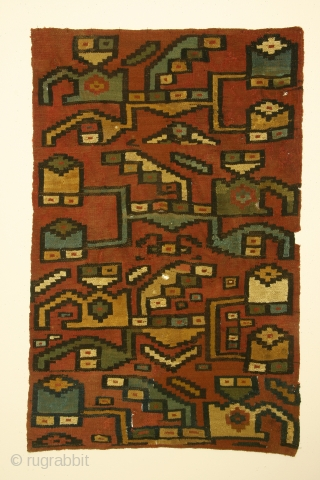 Pre-Columbian panel, complete, Peru, Late Wari culture, circa 900-1000 AD. Dimensions 24 x 36 inches. The structure consists of paired warps and single wefts foundation with supplemental weft patterning. Condition: about 10%  ...