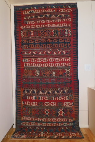 Anatolian kilim,Yuncu tribes, Balikesir region, circa 1800-1850, 51 x 116 inches (130 x 295cm) with a rare multiband design, professionally cleaned with minor restorations throughout the kilim.