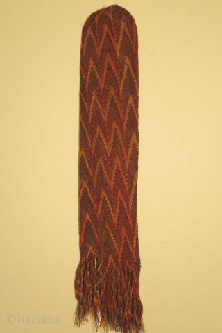 Pre-Columbian plaited tubular bag, early Nazca culture, circa 100-400 AD, dimensions 6 x 29 inches. Excellent condition