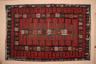 Anatolian kilim, Yuncu tribes, Balikesir region, early 19th century, 70 x 106 inches (178 x 269cm). Published in 100 Kilims: Masterpieces from Anatolia, 1991, plate 18, and originally in the collection of  ...