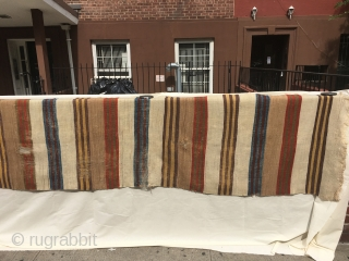 Anatolian striped kilim, 10 feet two inches x 30 inches (310 x 70cm), circa 1800-1850. There is no differential wear between the two long sides of this kilim, suggesting that it is not  ...
