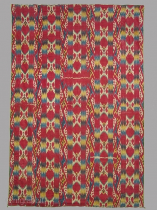 Wallhanging, Uzbek, Bokara, silk warp, cotton weft, printed cotton lining, 5 loom widths wide, 19th century, 55 x 82 inches (140 x 208 cm)