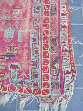 Central Anatolian Kirshehir  worn niched rug with exceptional color