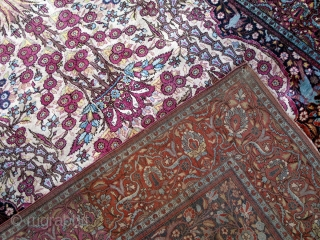 Magnificent, top quality pure silk Kashan rug.  203cm by 127cm  P.O.R