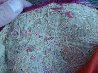 Antique metal thread Textile, 42 cm . Some damages and the backside and Persian border probably not original