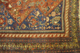 Khamseh 362 x 172 cm  Some areas wear but still beautiful, wool on wool, very pretty light blue