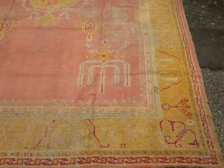 ANTIQUE USHAK 100 years old worned areas 435 x 322 cm 14 m2 29kg