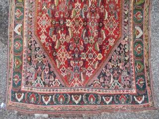 Kashgai Qashgai carpet Well preserved Dense pile Natural dyes Rare bottle green border  130 x 214 cm