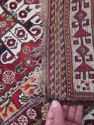 BEAUTIFUL QASHGA'I CARPET. FINELY WOVEN. VIBRANT SATURATED NATURAL DYES.  WOOL FOUNDATIONS. OVER 100 YEARS OLD.  THE PATTERN AND DESIGN BEING AN INTERESTING ARCHETYPE OF THE ABADEH MADE LATER BY THE SETTLED SHISHBOLUKI QASHGA'I AFTER  ...