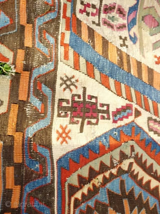 Aydin Anatolian Turkish Kilim, Mid 19th Century. 345 x 180 cm. Numerous stains & reweaves - see photos. Holed and corroded in brown areas see photos. Wonderful palette - see photos. In  ...