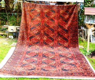 Ersai Turkmen Main Carpet. Exceptional Condition! Full pile, no damage or restoration, floppy handle, silky shiny wool, uniform shape, lies flat, great balanced palate, full kilim ends intact, selvedges original and perfect.  Wool  ...
