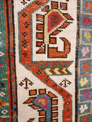 """Caucasian Karabagh or Gengie. Distressed state - low pile and very worn areas - see photos. Great funky colours and palate.  Wool on wool Size: 9' 3"""" x 4'"""