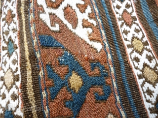 Shah Sevan soumak panel. N W Persian / Caucasian. 3 feet 6 iinches x 1 foot 7 1/2 inches or 107cm x 50cm. Wool and white cotton.  shadow on last picture. All pictures  ...
