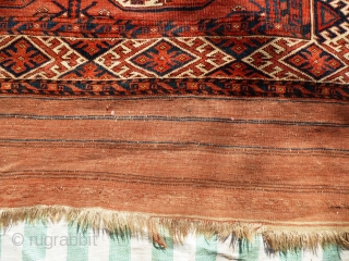 Turkmen Kizil Ayak Main Carpet. Sides ends original. Minor wear and staining in places - see pictures. Mid 19th Century.