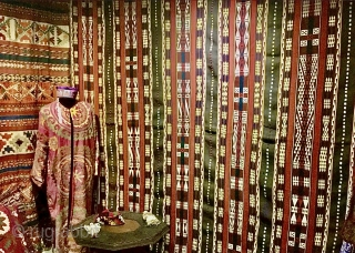 Antique Uzbek Ghudjeri flatweave cover. Circa 1920s. Good condition. Large size. Wool. Seven widths joined and bound with red cotton at sides. Size: 9ft 9in x 7ft 4in 297cm x 224cm.