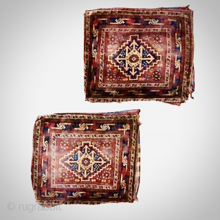Pair of South West Persian bags with backs. Size: 68cm x 56cm. Minor damage to sides and corners - see photos.