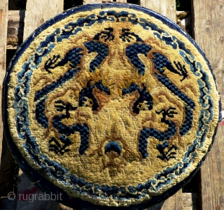 A pair of antique Chinese pile-woven covered marriage stools, old Ningxia covers on later painted wooden frames. Size of covers: 15 inches diameter or 37.5 cm Final photo shows how such stools  ...