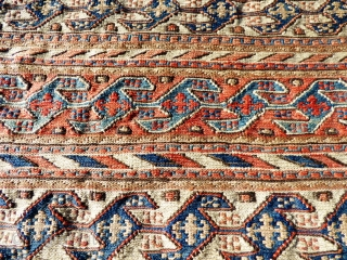 Pair of Persian Shahsavan Reverse Sumak bag faces. Wool. All good colours.   Ex Mary Burkett Collection. Dirty, need a clean. Cut to make two cushion covers, otherwise good condition - see photos.  Size  ...