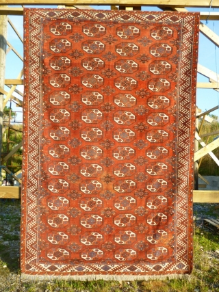 Good antique Turkmen main carpet. Ersari field motifs. Colours: raspberry red abrashed main field ( not clearly represented by all featured photos ), light blue, dark blue, sea green, yellow, white, brown,  ...