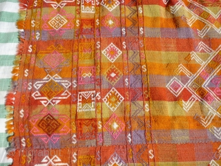 Dated Anatolian cover or Cicim.   Size: 114 x 70 inches or 290 x 180 cm  Aged: dated 1944, see photo  Colours:  pinks, purples, ochres, reds, yellows, tangerine, olive green, white.  Condition: a couple of  ...