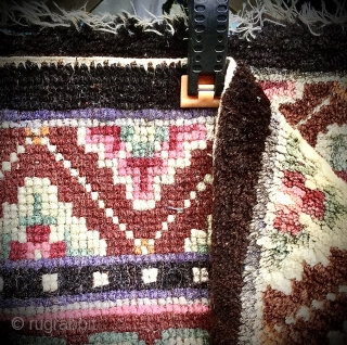 Tibetan seating mat, meditation square. Good even condition. Evidence of fuchsine. Size: 2ft x 2ft - 61cm x 61cm.