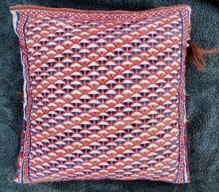 Antique Persian small bag 'khorjin' or 'chanteh', vanity bag. Qashqai? Pure wool, minor wear in places, see photos. 34cm x 34cm. presented as a cushion.