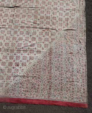 Indian chintz Coromandel coast textile found from Lampung Indonesia. This cloth in Lampung we call Lelohor Batik India. 17th-18th century. Size: 265cm X 205cm. Conditions with many small holes and repair. Please  ...