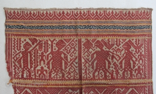 """Indonesia textile cloth """"Tampan"""" from Liwa Lampung, Sumatera. cotton. Size : 55cm x 54cm. Conditions : Please see on the picture, Free from any repair. 19th century."""