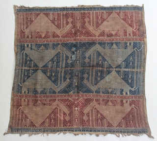 """Indonesia textile cloth """"Tampan"""" from Komering Lampung/Palembang, Sumatera. cotton. Size : 71cm x 71cm. Conditions : Please see on the picture, Free from any repair. 19th century."""