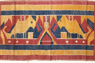Tatibin ceremonial cloth Lampung south Sumatra Indonesia, Paminggir people cotton natural dyes supplementary weft weave, with ship motif and mythical animal motif, good condition, 19th century size: 96 cm x 41 cm.  ...