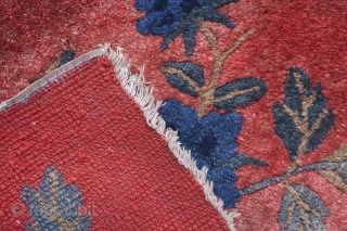 Lovely pair of Inner Mongolian seat maps. Warm red with blue peonies. 41*32 cm.