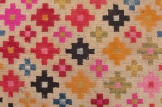 Lovely old Tibetan Khaden with diamond flower design. Ca. 1930. 170*81cm