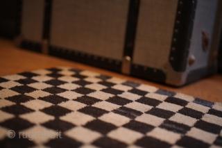 Antique Tibetan chequerboard khaden. Beautiful design and colours. Good condition. Lovely piece. Circa 1900. 152x84cm.