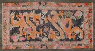 Tibetan double dragon Khaden. Circa 1930. Nice colours and good drawing. Professionally cleaned. Good pile with some restorations, see images. 164*85cm.