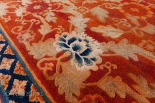 Antique Chinese Temple Rug, Thick pile and lovely colours. Some minor restorations. Circa 1900. 300x180 cm.