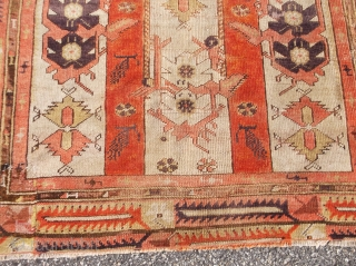 Early MELAS prayer rug.....approx. 3.5 x 4.8......has old repairs and newer edges.....checks drawn on U.S. banks preferred.....please ask....