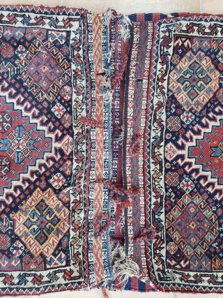 Qashqai khorjin complete. fine weaved kilim and sumakh; soft colors, crisp design. some little spots without pile.