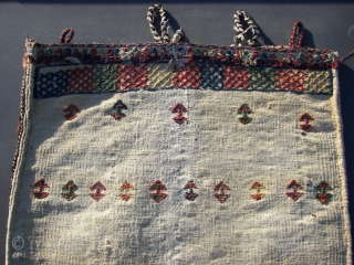 "South Persian Tribal, ( Sirjan, Afshar/Bachtiar )Single Khorjin/Bag 65 x 55 cm.  Around 1900, wool/cotton. Good overall condition. Nat col. Needs a bath. Listening ; ""Missy Elliott - The Rain [Supa  ..."