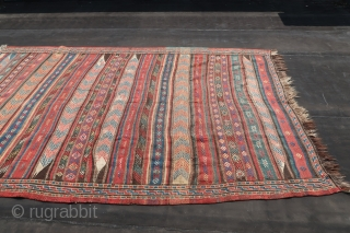 "Kordi, Kilim, brocaded, ca; 345 cm x 185 cm. Wool on wool, B/C condition. Ca. 1930. See also Wilfried Stanzer. ""Kordi"".page 116-117.   45,oo euro s added ,for transport and insurance.  ..."