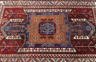 """Kars,Qers,Ghars, Shield Kars kazak. Once the capital of the Bagrati Kingdom in Armenia, Thick piled, wool on wool,Last half of the 20th.Cent.Good overall condition.  Cleaned and washed. Ca; 280 x 160 cm. Listening; """"Miles  ..."""