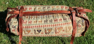 South Persian Tribal, Qhasgai, Qasqai, Qashqai, Ghashghai, Gashgai, Wool on wool, leather,  with a plethora of livestock covering four sides ,good overall condition, cleaned, no holes, moth, etc. Interbellum . Small  ...