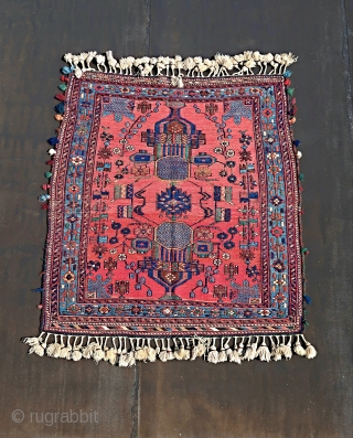 Colourful Afshar sumak/sumack .Wool on cotton. Good overall condition. Two vases  and a blue floral border. Ca 1900/1950 Ca; 140 cm x 110 cm.