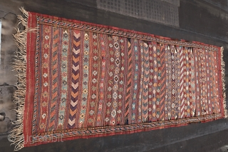 KORDI KELIM, ca 1930-1950  ( Condition a-b.) Ca; 20 kg. Good  overall condition. Wool on wool .Large; Ca. 500 cm x 190 cm.  See Also Wilfried STANZER Kollektion Adil  ...