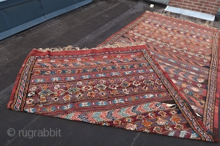 KORDI Kelim,Khorassan wedding ceremony kelim ca 1930. Quaramanlu,Brimanlu,Pahlevanlu tribes, Ca; > 25 kg. No bad colors. Gooooood overall condition. Wool on wool .Large; Ca. 500 cm x 190 cm.( to my knowledge  ...