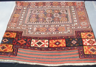Luri Bakthiari Khorjin fragment. Western central Persia. 142 cm x 88 cm. Wool on wool . Good colors, ca. 1900.  Sumakh,& kilim, and pile woven ends. Joined at the centre, one  ...
