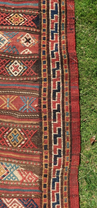 Tribal,Kordi Kelim,Khorassan wedding ceremony kelim ca 1930. Quaramanlu,Brimanlu,Pahlevanlu tribes, Ca; > 25 kg. No bad colors. Good overall condition. Wool on wool .Large; Ca. 550 cm x 190 cm.( To my knowledge  ...